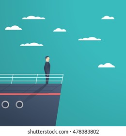 Business man standing on a ship as a symbol of leadership, professionalism and strong, powerful manager. Eps10 vector illustration.