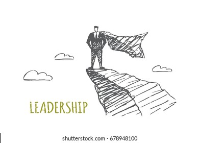 A business man is standing on top of a rock. Clouds fly against the background. Vector business concept illustration. Hand drawn sketch. Lettering leadership.
