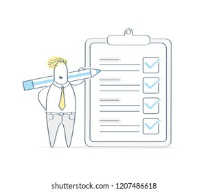 Business man standing over marked to do checklist with pencil. Successful completion of business tasks, clipboard paper, questionnaire concept, business brief. Cute flat light outline vector