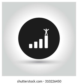 A business man stands up on top of a company graph growth profit chart Icon. Black Circle Pictogram. vector illustration