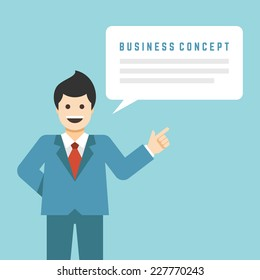 Business man stay with hand up finger pointing concept and flat presentation talk and speech bubble. Website infographics design web elements vector illustration.