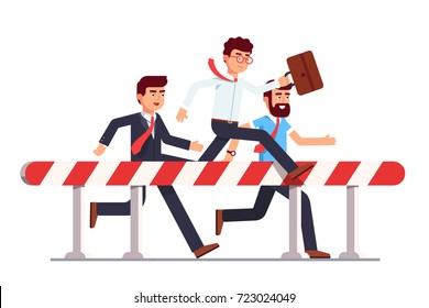 Business man in steeplechase race over hazardous obstacle. Leader successfully jumping over first ahead of hurdling competition. Leadership overcoming difficulties. Flat vector isolated illustration.