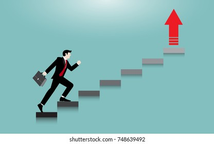 Business man step on staircase to success. Concept business vector flat