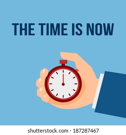 Business man with stop watch the time is now management poster vector illustration