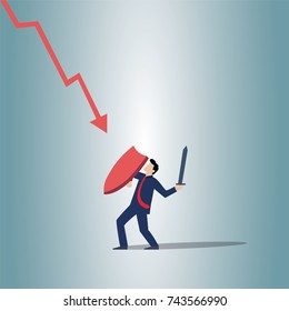 Business man is Struggling with badly going stocks.Vector illustration