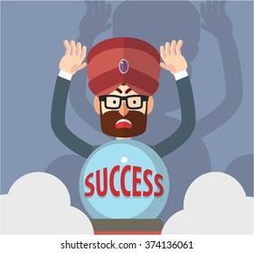 Business man success fortune teller