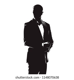 Business man in suit, abstract comics ink drawing, isolated vector silhouette. Handsome people, social event