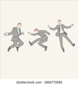 A business man in a suit is jumping. hand drawn style vector doodle design illustrations.
