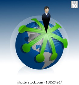 Business man in suit or presidential ruler, standing on world with multiple paths of expansion around the globe