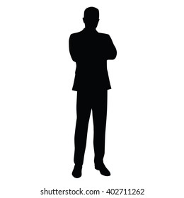 Business man in a business suit stands with his arms crossed, front view. Teacher, lawyer, civil servant, businessman, entrepreneur, boss, manager. Isolated vector silhouette.