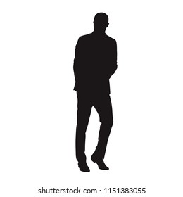Business man in suit walking or leaning. Isolated vector silhouette