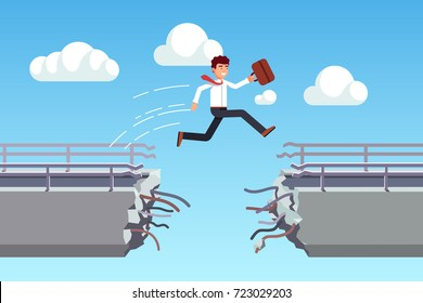 Business man suitcase jumping over broken bridge seizing opportunity. Metaphor of overcoming fears & obstacles. Leaping cracked gap. Flat style vector illustration isolated on white background.