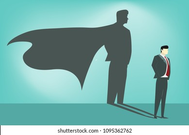 business man with superhero on his shadow, hidden abilities concept