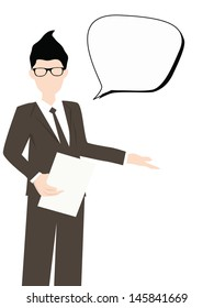 business man talking with bubble conversation vector