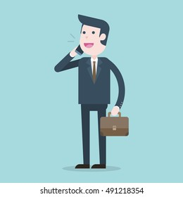 Business man talking on phone, Vector illustration.