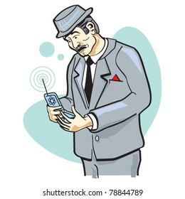 Business man talking or speaking on cell phone.