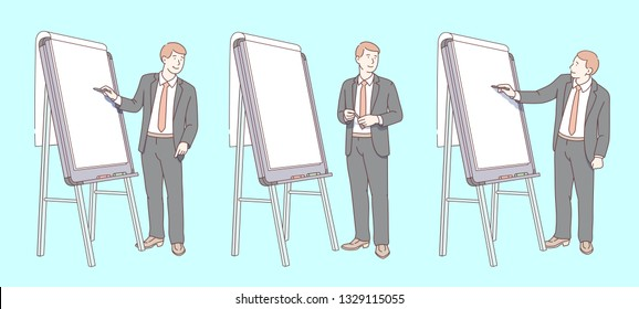Business man teacher lecturer speaker giving presentation or lecture, standing, writing, pointing at blank flipchart. Smiling coach education seminar. Flip chart flat line vector illustration set