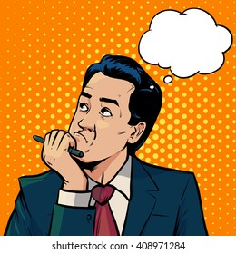 business man thinking, bubble, pop art, retro style, business concept, office, boss, idea, vector illustration