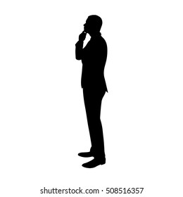 Business man thinking. Profile, side view vector silhouette. Standing man in suit. Manager, broker, lawyer, boss, chief, salesman, teacher