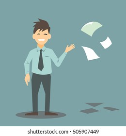 Business man throwing papers to the air; paperless concept-vector cartoon