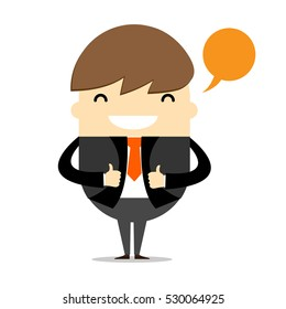Business man to Thumbs up hand gesture , Cartoon vector design