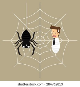 business man is trapped in the spider's web. vector