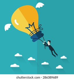 Business man try to catch flying idea. Idea concept flat design