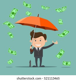 Business man with an umbrella and money , Business concept - vector illustration