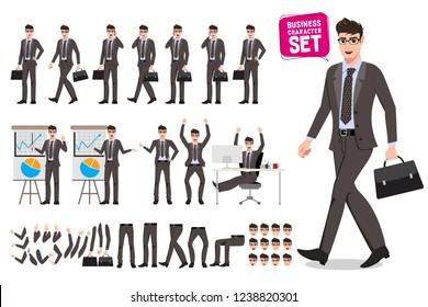 Business man vector characters set. Cartoon character creation of male office person holding briefcase and talking for presentation with different pose and gestures. Vector illustration.