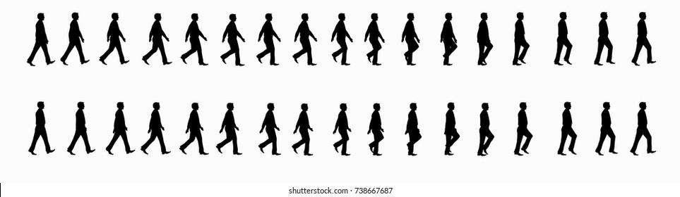 Business man walk cycle sprite sheet