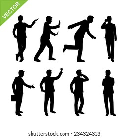 Business man walk on staircase silhouettes vector