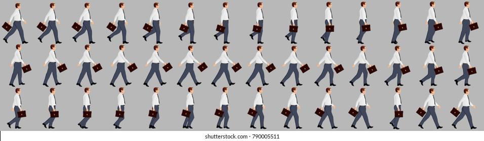 Business Man walking animation sprite sheets
