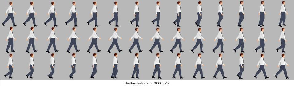 Business man walking animation sprite sheet