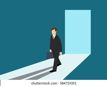 Business man walking out of the door. Business concept. Isometric 3d design. vector illustration