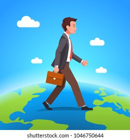 Business man walking over terrestrial globe crossing borders and ocean between continents. Young business person moving earth planet. Workforce migration metaphor. Flat vector character illustration