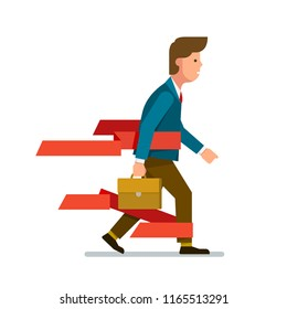 Business man walking overcoming red tape. Businessman encountering bureaucratic government, law, corporate challenges, obstacles. Red tape ribbons slowing move forward concept. Flat vector illustratio