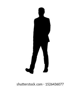 Business man walking in suit, isolated vector silhouette, front view
