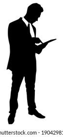 business man walking touchscreen digital tablet, vector
