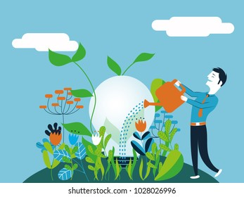 Business man watering a light bulb - Vector illustration for concept of taking care and make growing a good and ecological idea