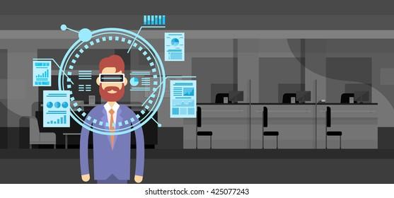 Business Man Wear Virtual Reality Digital Glasses Finance Graph Chart Office Background Flat Vector Illustration