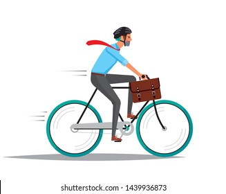 Business man wearing helmet riding a bike and hurrying up at work. Isolated at white background. Vector illustration.