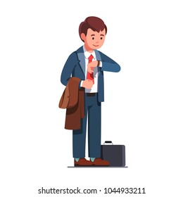 Business man wearing necktie suit and holding a coat standing and looking at wrist watch, waiting. Smiling corporate business person character wearing stylish clothes. Flat style vector illustration