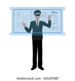 business man wearing vr glasses interaction