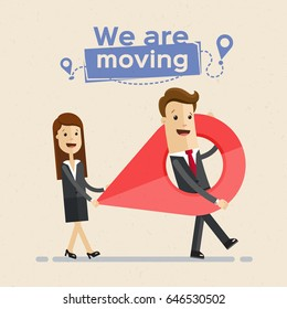 Business man and woman carry a large map pointer, two tags show new route on the map. New office location. Relocation. Vector, illustration, flat