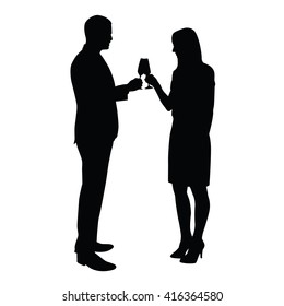 Business man and woman celebrating with glass of champagne. Vector silhouettes of young couple who toasts to the birthday celebration, success, anniversary