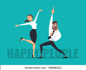 Business man and business woman celebrating success. Vector illustration, isolated on blue background.