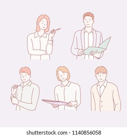 business man and woman character bust shot. hand drawn style vector design illustrations.