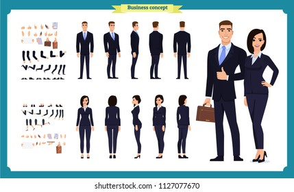 Business Man and woman character constructor with various views, hairstyles, poses and gestures. Front, side, back view. Cartoon style,  flat vector isolated.woman female illustration.