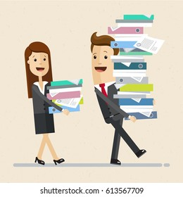 Business man and a woman, colleagues, walk together and carry  stacks of folders. Business people, team. Vector, illustration, flat.
