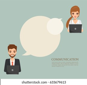 Business man and Business woman communication infographic. Illustration vector of cartoon people design.